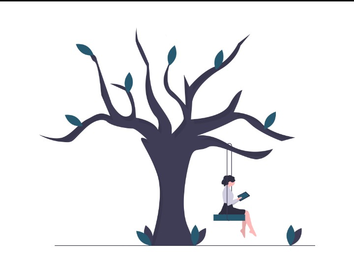 Girl - sitting on a tree - swing - Reading
